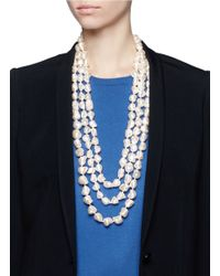 Kenneth Jay Lane | White Triple Strand Baroque Pearl Necklace | Lyst