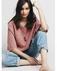 Free People - Red Open Back Boxy Short Sleeve Pullover - Lyst
