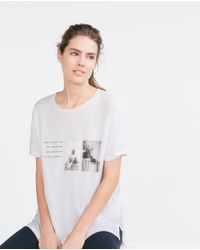 Zara | White Photo Print Striped T-shirt | Lyst