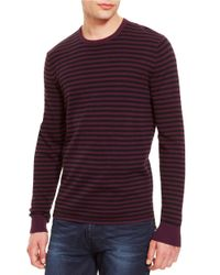 Kenneth Cole | Black Striped Crew Neck Pullover for Men | Lyst