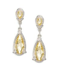Judith Ripka - Yellow Canary Crystal White Sapphire Sterling Silver Drop Earrings - Lyst