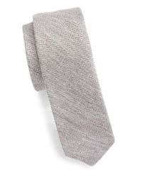 Original Penguin | Gray Silk And Cotton Herringbone Tie for Men | Lyst