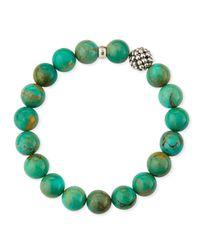 Lagos - Blue 10Mm Caviar-Ball Turquoise Beaded Stretch Bracelet - Lyst