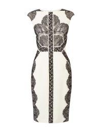 Karen Millen | Natural Placed Lace Dress | Lyst