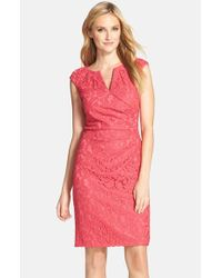 Adrianna Papell - Red Lace Sheath Dress - Lyst