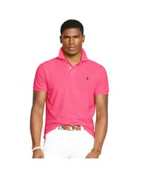 Polo Ralph Lauren | Pink Slim-fit Mesh Polo Shirt for Men | Lyst