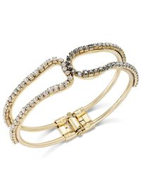 INC International Concepts | Metallic Gold-tone Hematite And Clear Stone Hinge Bangle Bracelet | Lyst