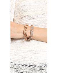 Fallon | Metallic Shalom Long Link Bracelet Rose | Lyst