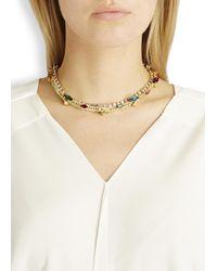 Iosselliani   Metallic Gold Plated Swarovski Crystal Necklace   Lyst