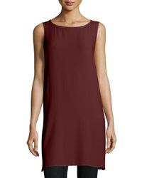 Eileen Fisher | Brown Georgette Crepe Long Shell | Lyst