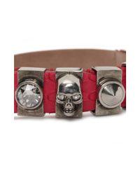Alexander McQueen - Metallic Snakeskin Metal Loop Bracelet - Lyst