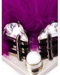 Fendi - Metallic Crystal Bugs Brooch - Lyst