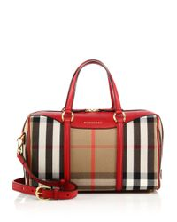Burberry - Natural Leather-trimmed Checked Satchel - Lyst