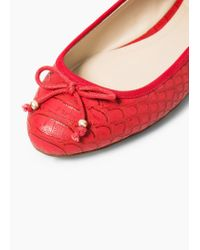 Mango - Red Bow Ballerinas - Lyst