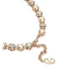 Valentino | Metallic Pearl And Crystal Long Necklace | Lyst