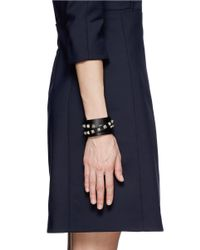 Valentino - Black Rockstud Double Wrap Leather Bracelet - Lyst