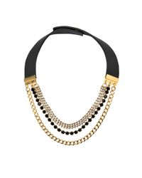 Marni - Black Chains And Strass Necklace - Lyst