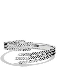 David Yurman | Metallic Willow Open Three-row Bracelet With Diamonds | Lyst