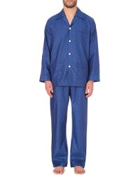 Derek Rose - Blue Baroque-print Cotton Pyjamas for Men - Lyst