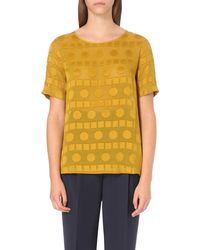 Paul Smith Black Label | Yellow Geometric-print Devoré Top | Lyst
