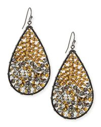 Nakamol | Metallic Beaded Crystal Teardrop Earrings | Lyst