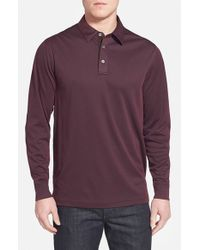 John W. Nordstrom | Purple Long Sleeve Pique Polo With Faux Suede Trim for Men | Lyst