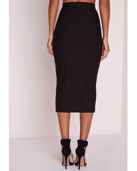 Missguided - Contrast Stripe Extreme Asymmetric Midi Skirt Black - Lyst