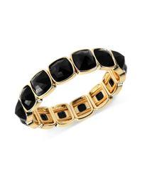 Anne Klein | Metallic Goldtone Cushioncut Jet Stone Stretch Bracelet | Lyst