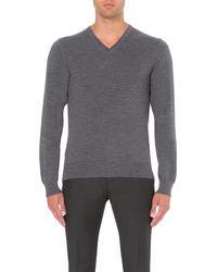 J.Lindeberg | Gray V-neck Wool Jumper - For Men for Men | Lyst
