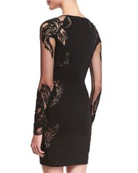 Roberto Cavalli - Black Feather-embellished Punto Mini Dress - Lyst