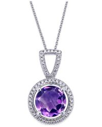 Macy's | Metallic Amethyst (7mm) And Diamond (1/10 Ct. T.w.) Pendant Necklace In Sterling Silver | Lyst