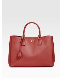 Prada | Red Saffiano Lux Tote for Men | Lyst