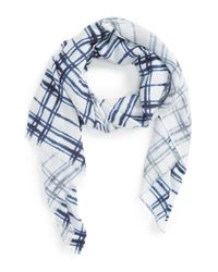 Halogen | Blue Blurred Plaid Wrap | Lyst