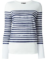 Vince | White Striped Long Sleeve T-Shirt | Lyst