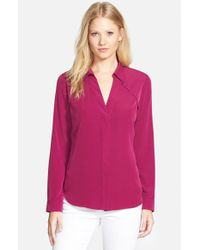 NYDJ | Pink Fit Solution Split-Neck Blouse | Lyst