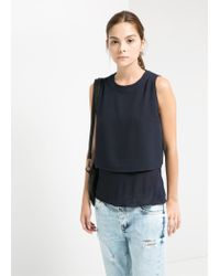 Mango - Blue Double-Layer Top - Lyst