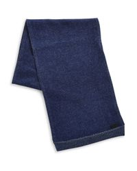 John Varvatos - Blue Wool And Cashmere Knit Scarf for Men - Lyst