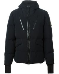 Stone Island - Black Padded Hooded Jacket for Men - Lyst