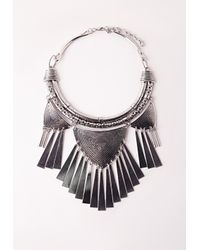 Missguided | Metallic Metal Tassel Tribal Collar Necklace | Lyst