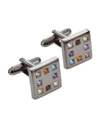 Link Up | Metallic Crystal Square Cuff Links | Lyst