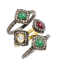 Amrapali | Metallic Set Of 3 Diamond, Emerald And Ruby Rings | Lyst