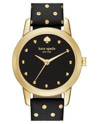 kate spade new york - Black 'mini Metro' Leather Strap Watch - Lyst