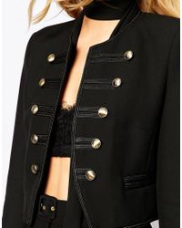 Mango | Black Cropped Military Jacket | Lyst