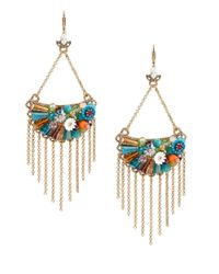 Betsey Johnson | Metallic Weave And Sew Half Moon Fringe Earrings | Lyst