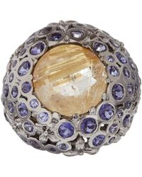 Stephen Dweck - Metallic Silver Gold Quartz Iolite Centre Orb Ring - Lyst