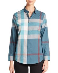 Burberry | Blue Large-check Blouse | Lyst