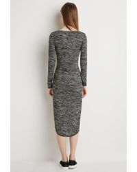 Forever 21 - Black Marled Midi Dress - Lyst