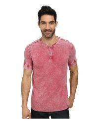 DKNY | Red Short Sleeve Acid Sprayed Slub Jersey Henley for Men | Lyst
