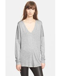 VINCE | Gray Double Vee Sweater | Lyst