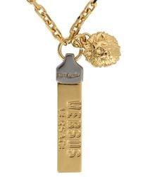 Versus   Metallic Gold Tone Plaque Necklace for Men   Lyst